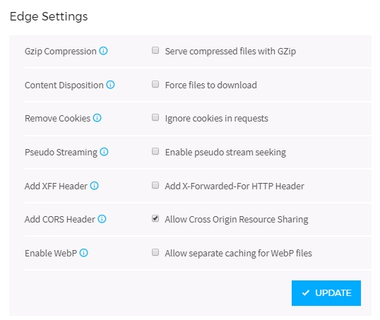 CDN edge settings