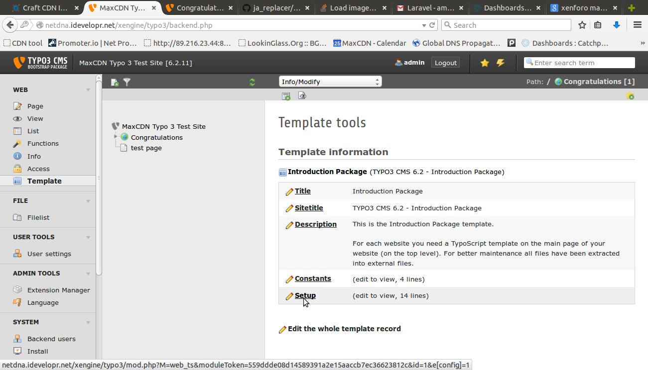Typo3 open template