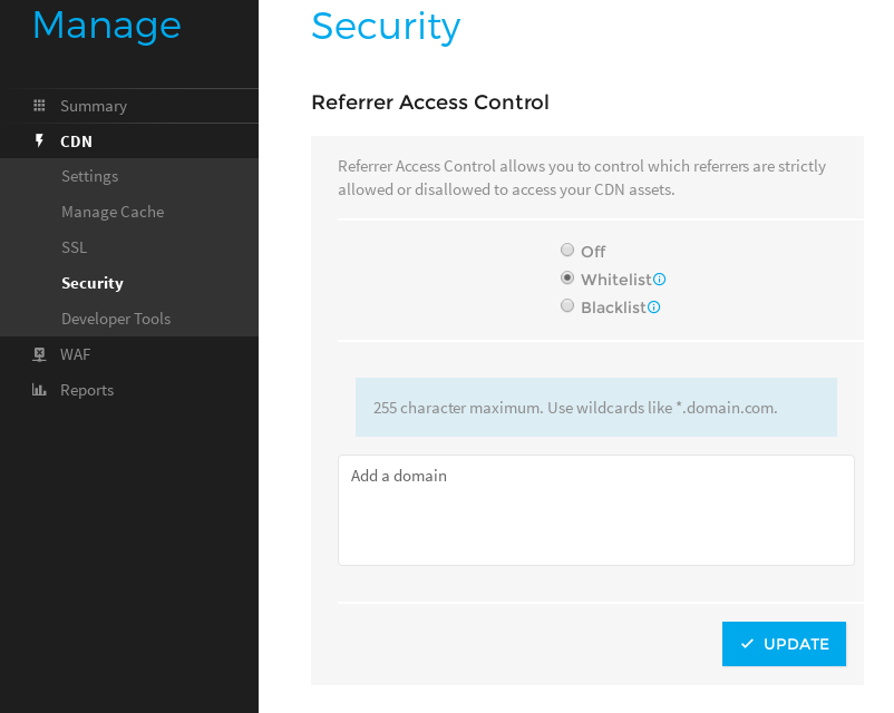 Referrer access control settings