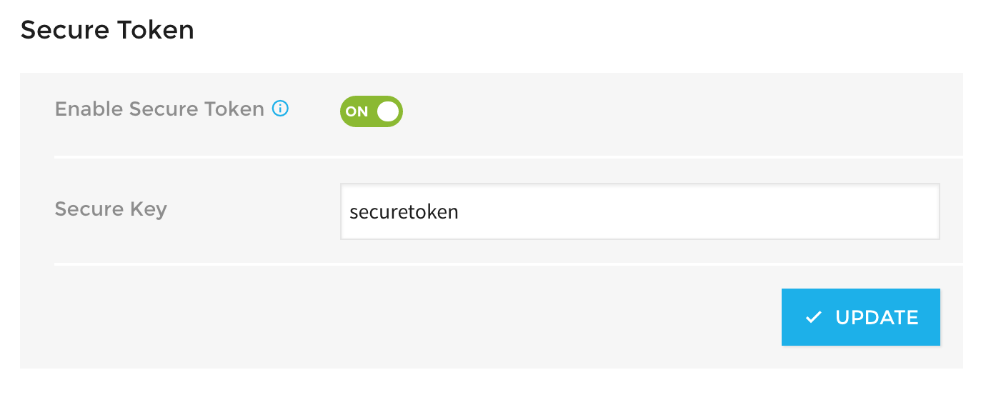 Enable secure token settings