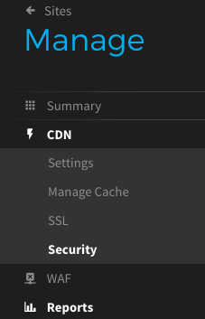 StackPath CDN security settings